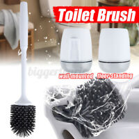 Silicone Soft Bristle Toilet Brush Base Home WC Bathroom Cleaning Tool Set