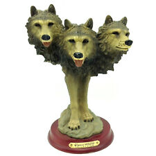 3 Wolf Heads Classic Wildlife Collection Wolf Pack Spirit Statue Wood Base