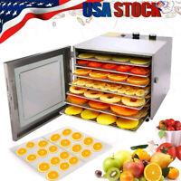 6 Tray Food Dehydrator Machine Stainless Steel Racks Healthy Fruit Jerky