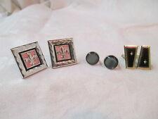 Vintage 3 sets Cufflinks black onyx gold tone silver tone fleur de lis gray MOP
