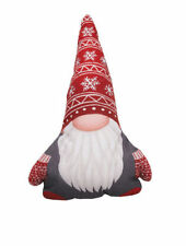 """CHRISTMAS GNOME SHAPED THROW PILLOW 13X19"""", INSERT INCL., NEW"""