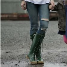 Hunter Original Watling Lace Up Rain Boots Green Natural LTD VTG MSRP $240