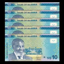 Lot 5 PCS, Namibia 10 Dollars, 2015, P-11 New, UNC