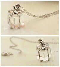 #7054 Lovely Fashion Square Box Bow Pendant NecklaceÊ