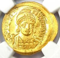 Byzantine Anastasius I AV Solidus Gold Coin 491-518 AD - NGC Choice MS (Ch UNC)