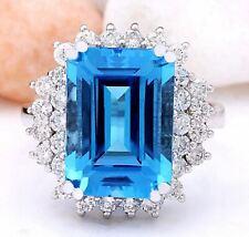 9.10 Carat Natural Topaz 14K Solid White Gold Diamond Ring