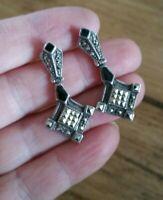 Art Deco Design Vintage Sterling Silver  Onyx & Marcasite Geometric  Earrings