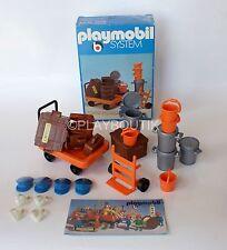 PLAYMOBIL SYSTEM 3206 A - transport bagages - vintage - valises - chariot
