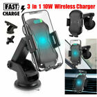 Qi Car Wireless Charger Clamp Mount Air Vent Phone Holder Auto Fast Charging 10W