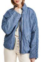 Free People Dolman Quilted Denim Jacket Blue Size L