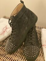 Christian Louboutin LOUIS SPIKES FLAT SUEDE Size 44 Grey Colour Conditions new