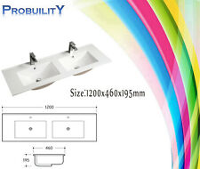 1200 x 460 High Gloss Ceramic Double Bowl Vanity Top Above Basin + Pop-up Waste