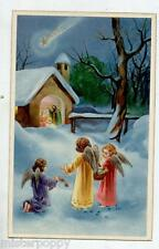Angeli Bambini Neve Gesù Cometa Presepe Natale Child Angels PC Circa 1930 2