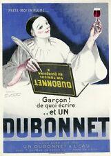 """""""DUBONNET"""" Affiche d'intérieur orig. entoilée Litho VIRTEL vers 1920   (PIERROT)"""