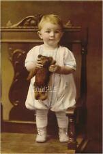 ANTIQUE STEIFF TEDDY BEAR BABY BOY CHILD TOY PHOTO sepia CANVAS ART PRINT