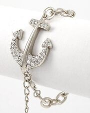 NEW CRYSTAL ANCHOR PENDANT NAUTICAL SILVER LINK CHAIN BRACELET