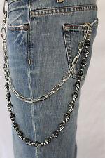 Men Silver Metal Wallet Chain Key Chain Biker Jeans Trucker Black Skulls Faces