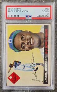 1955 Topps Baseball Card #50 Jackie Robinson Full Diamond Brooklyn Dodgers PSA 2