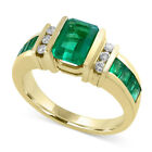 Elegant 18k Yellow Gold Plated Rings Women Emerald Rings Jewelry Size 6-10