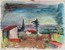 CONTINENTAL Impressionista Paesaggio dipinto ad Acquerello c1950
