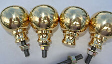 "4 solid Brass BED KNOBS small 2.1/4"" high old style COT heavy vintage polished B"