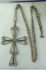VINTAGE LARGE STERLING SILVER MEXICAN FILIGREE CROSS NECKLACE