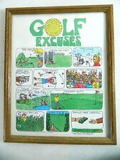 Vintage 90s A Slice of life Comic Strip Golf Excuses Trick Shot Framed Art Work