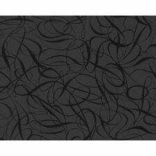 AS Creation Swirl Stripe Pattern Wallpaper Embossed Metallic Black Roll 132062