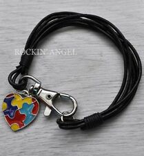 Real Black Leather Wristband Bracelet & Bright Coloured Autism Puzzle Heart