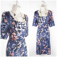 Phase Eight Blue Floral Jersey Wiggle Dress UK16 Special Occasion Stretch