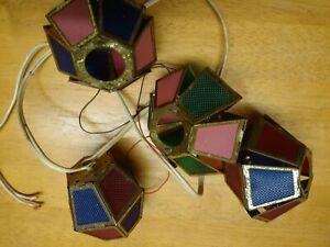 4 Vintage 1930 Christmas German Lantern Folding Style Coloured Celluloid Metal