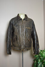 VTG EDDIE BAUER LEGEND BROWN DISTRESSED LEATHER JOURNEYMAN DOWN JACKET * MEDIUM