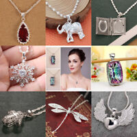 925 Silver Mystic Rainbow Topaz Chocker Pendant Chain Necklace Women Men Gift