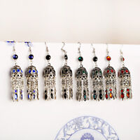 4 Color Retro Bohemian Classic Rhinestone Long Tassel Drop Dangle Women Earrings