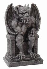 Gargoyle Thinker On Throne Statue. Gothic Figurine. Decorative Collectible Gift