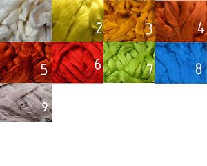 100 % Baumwolle Kammzug farbig, Baumwolle für filzen und spinnen, 50 g im Band