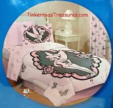 TINKER BELL WITH BUTTERFLYS FULL / QUEEN SIZE SHADES OF PINK AND BLACK COMFORTER