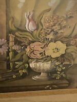 Vtg Old Antique Ornate Wood Framed Wall Hanging Art LOUDON FLORALS