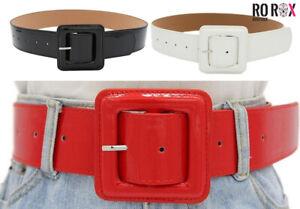 Ro Rox Sophia Retro Alternative Wide Patent PVC Square Large Buckle Waist Belt