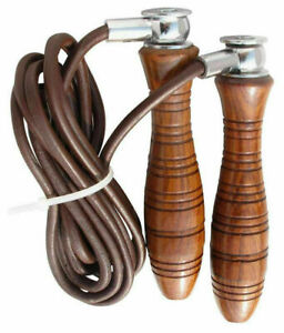 Rope Leather Skipping Jump Rope Indoor Gym Wooden Handles Boxing Maxx RRP£19.99