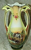 Antique English Mantle Porcelain Vase Horse & Cart w/ Lad Country Lane Scene