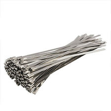 100PCS 4.6x200mm Stainless Steel Exhaust Wrap Coated Locking Cable Zip Ties