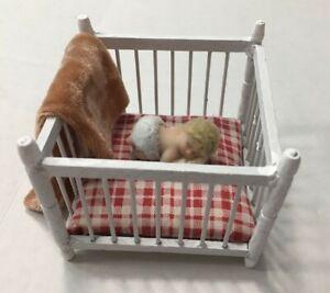 Vintage Dollhouse Crib & Resin Sleeping Baby Blanket 1:12 Scale