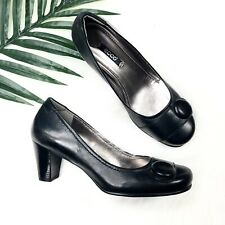 Ecco Shoes US Size 7 EUR 37 Black Leather Heels Classic Wear To Work Pumps