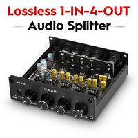 4-way Lossless Analog Audio Switcher Box RCA Splitter VOL Control for Amplifiers