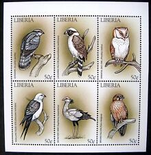 1999 MNH LIBERIA BIRD STAMPS SHEET OF 6 OWL FALCON BIRDS OF PREY KITE GOSHAWK