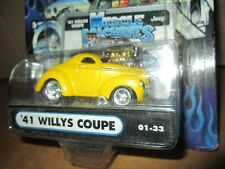 41 JEEP WILLYS COUPE yellow MUSCLE MACHINE funline STREET ROD 1:64 BLOWER