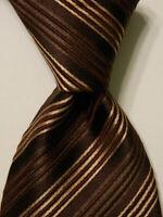 GIORGIO ARMANI Men's Silk XL Necktie ITALY Luxury Designer STRIPED Brown/Tan EUC