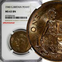 Great Britain George VI Bronze 1940 1 Penny NGC MS63 BN KEY DATE KM# 845
