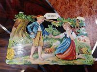 Oblaten Glanzbild Nr. 4126a, Junge und Mädchen im Wald